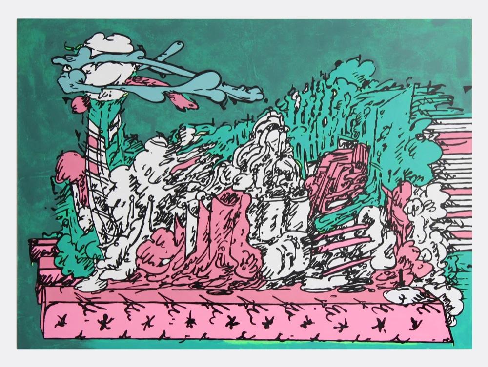 Edwin Burdis, Mega Dairy Pig Farm, 2012. Acrylic, gloss, MDF with audio. 164 x 120 cm.