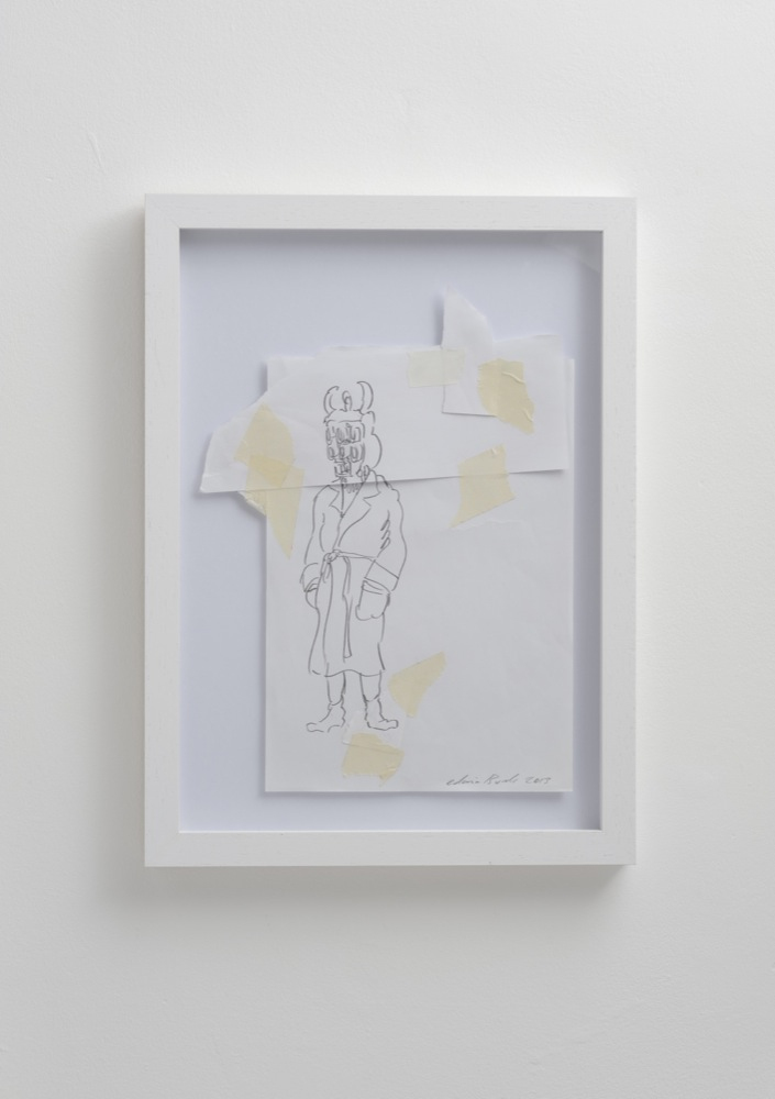 Edwin Burdis, The Little Plumbers 2, 2013. Pencil and masking tape on paper. Framed. 22.1 x 29.9 cm.