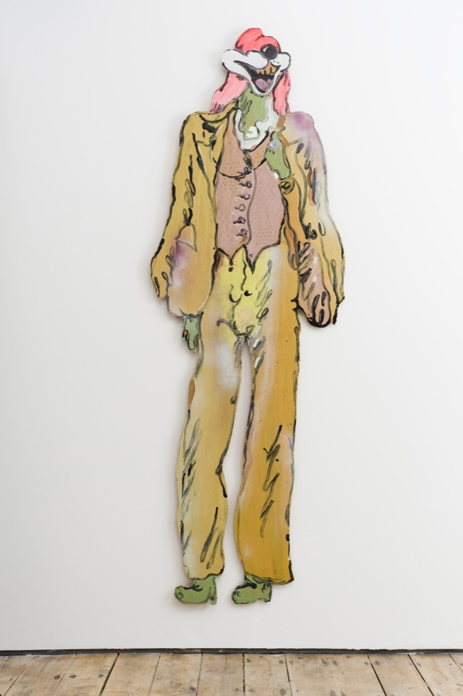 Edwin Burdis, The Plumbers: Boy Bradley, 2014. Acrylic, gloss paint, mixed media, plywood. 179.5 x 197.6 x 3 cm.