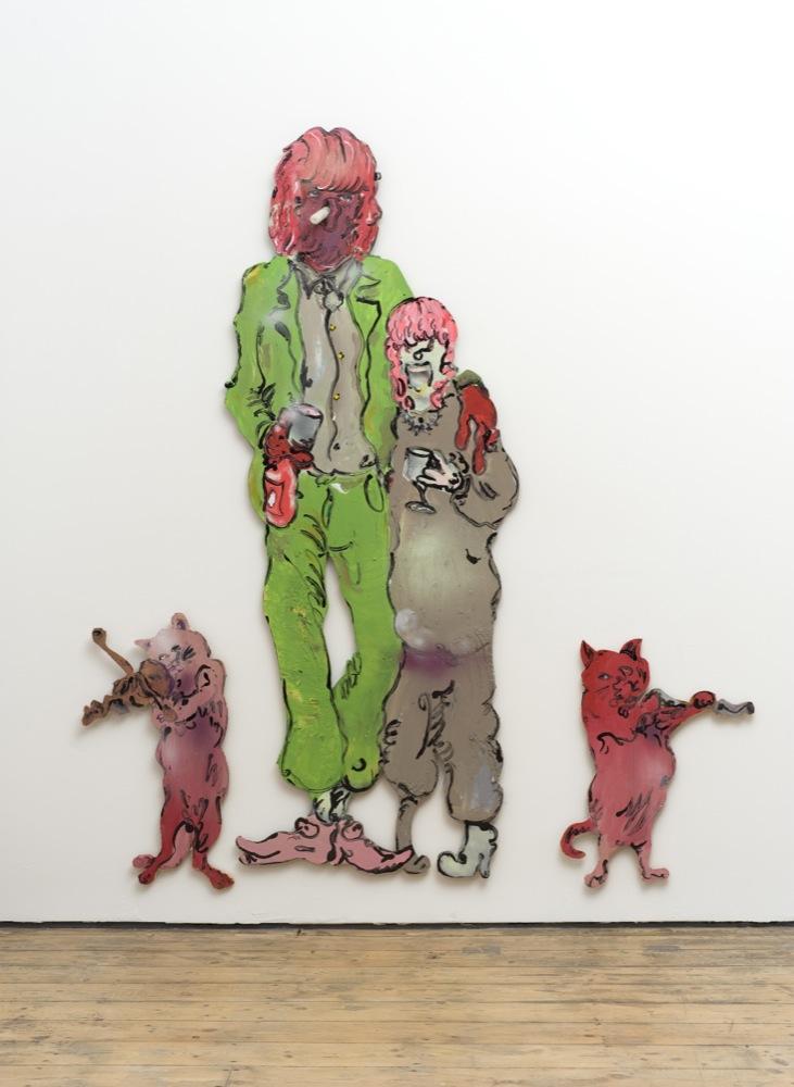 "Edwin Burdis, The Plumbers: Hong ""N"" Ming, 2014. Acrylic, gloss paint, mixed media, plywood. 179.5 x 197.6 x 3 cm."