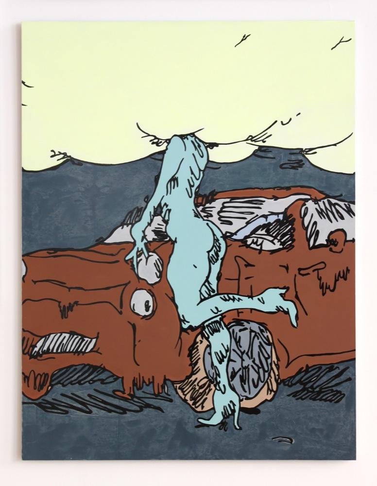 Edwin Burdis, Living in Cloud Cuckoo Land (with a chocolate car), 2012. Acrylic, gloss, MDF. 156 x 120 cm.