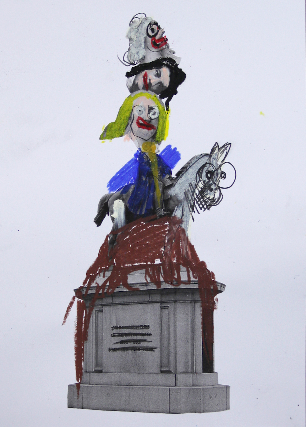 Jamie Fitzpatrick, Sketch for a Broken Monument 11, 2020. Photocopy, oil pastel and charcoal on paper. 42 x 29.5 cm.