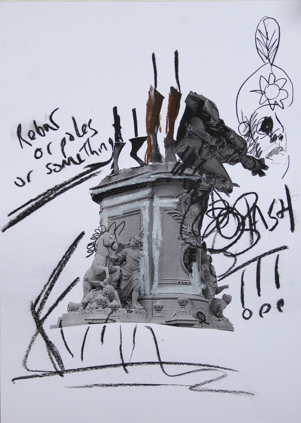 Jamie Fitzpatrick, Sketch for a Broken Monument 13, 2020. Photocopy, oil pastel and charcoal on paper. 42 x 29.5 cm.