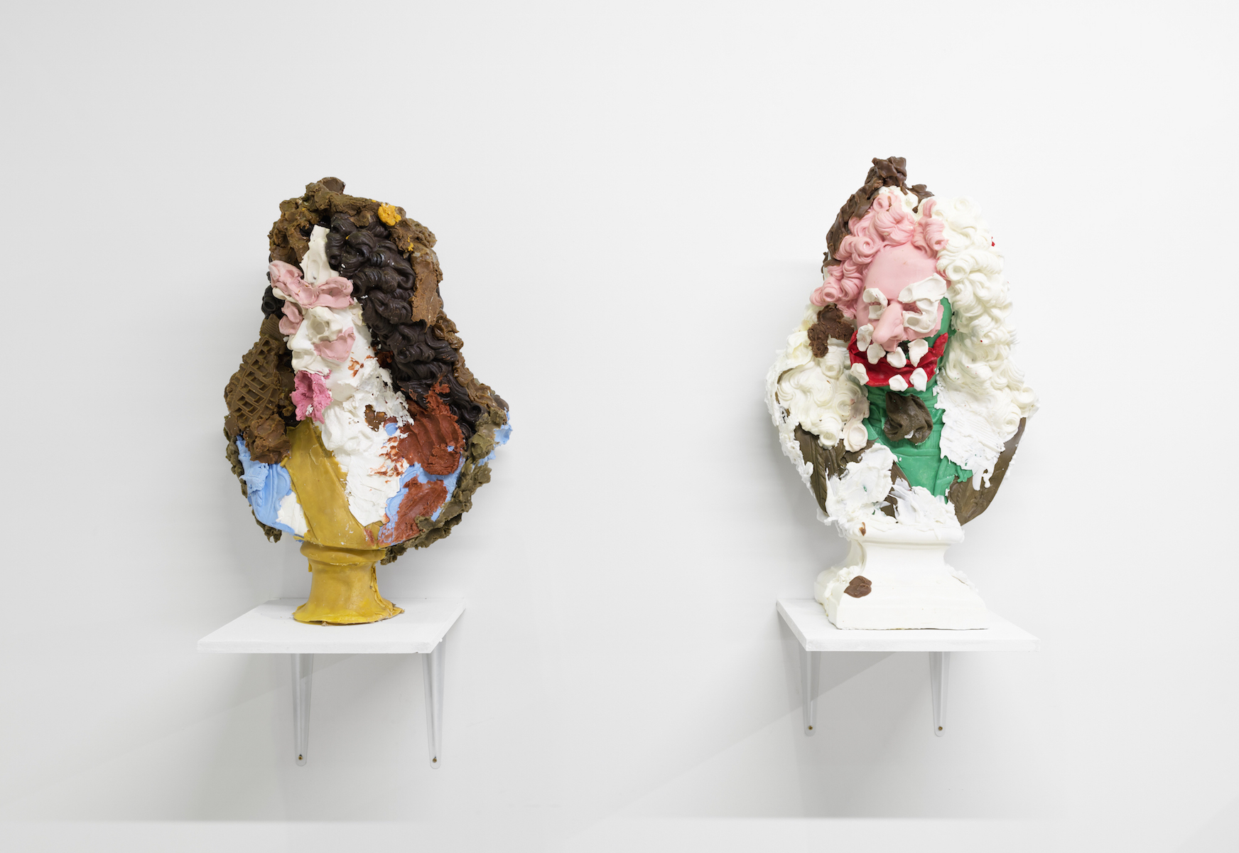 Jamie Fitzpatrick, Untitled (Bust 1) and Untitled (Bust 2), 2016. Wax, scrim, polyurethane foam. 69 x 39 x 25 cm / 64 x 39 x 27 cm.