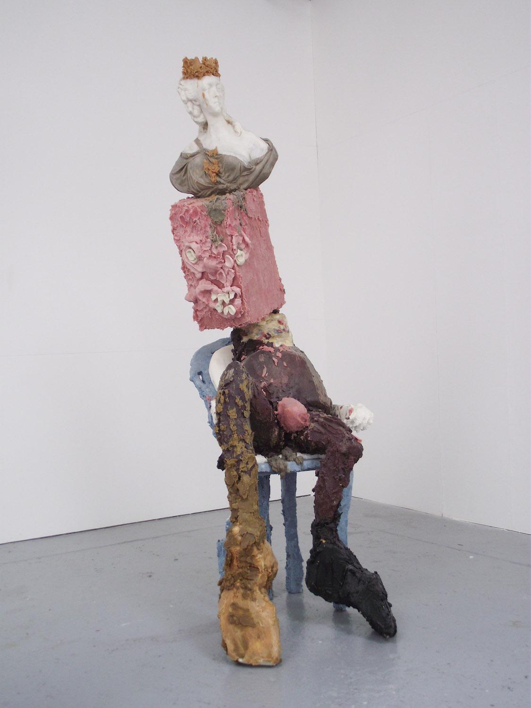 Jamie Fitzpatrick, The King. Wax, polyurethane foam, polystyrene, steel. 230 x 72 x 130 cm.