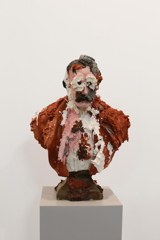 Jamie Fitzpatrick, Untitled (Bust 10), 2016. Wax, scrim, polyurethane foam. 65 x 50 x 26 cm.