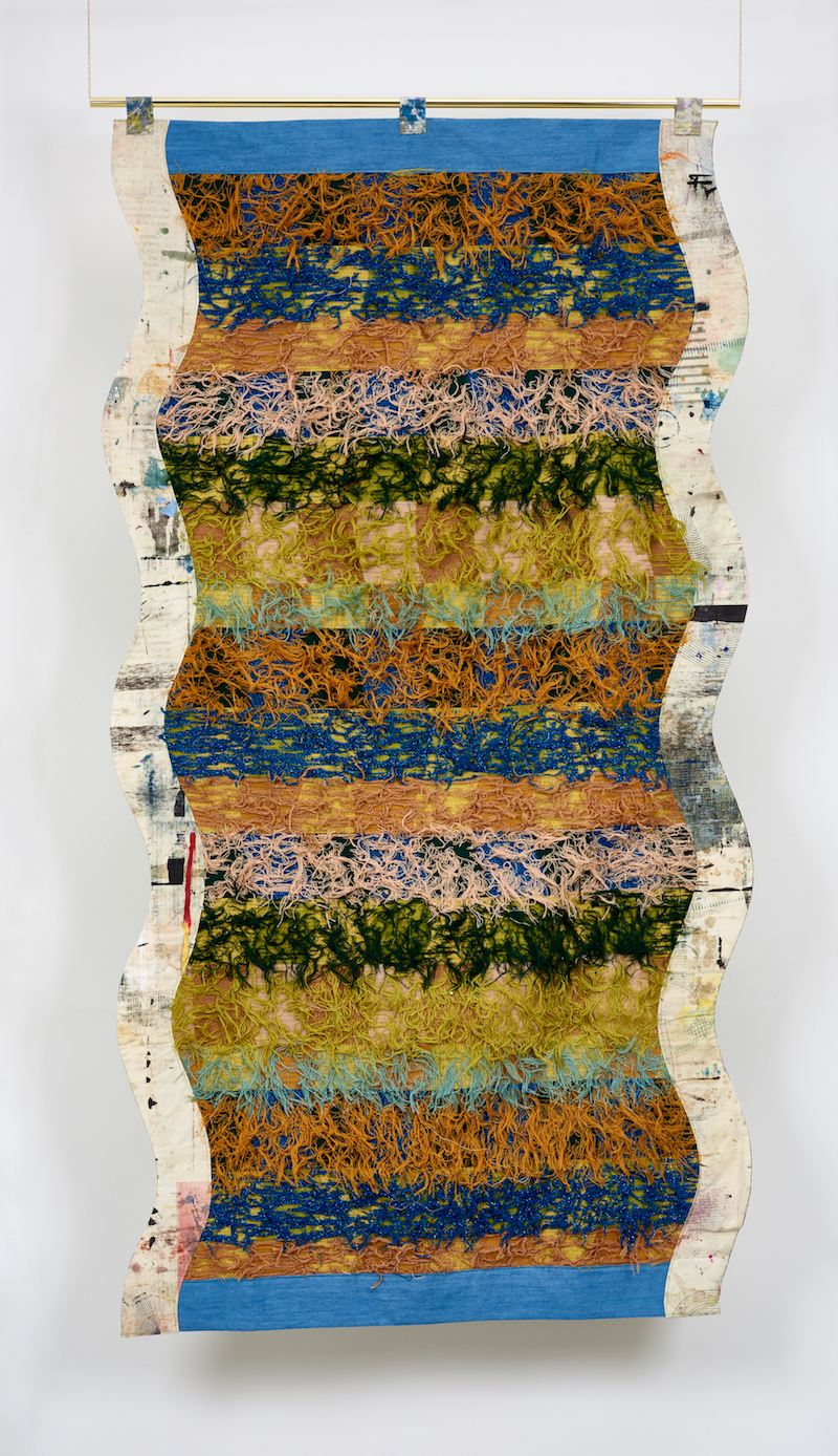 Ludovica Gioscia, Portal 21, 2019. Fabric, thread, metal pole. 231 x 122 cm.