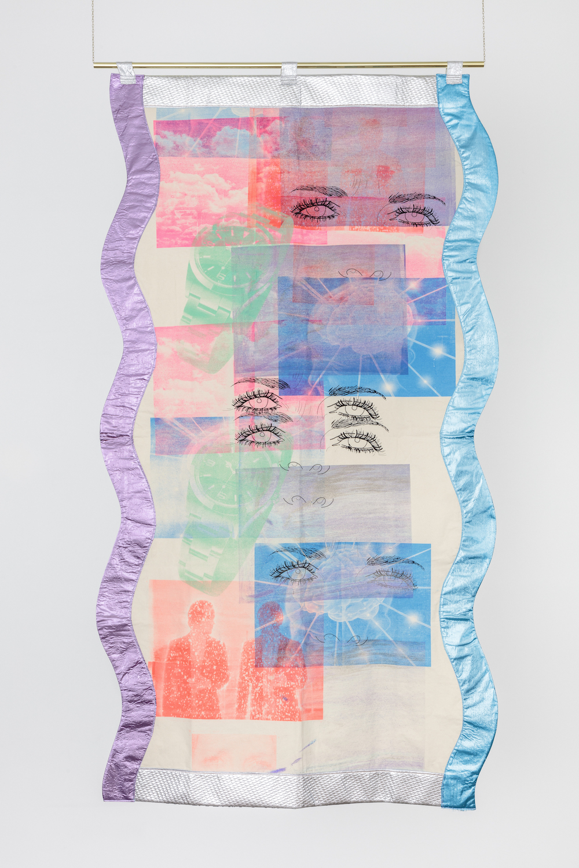 Ludovica Gioscia, Portal 9, 2017. Fabric, thread, screenprinting ink, metal. 224 x 122 cm.