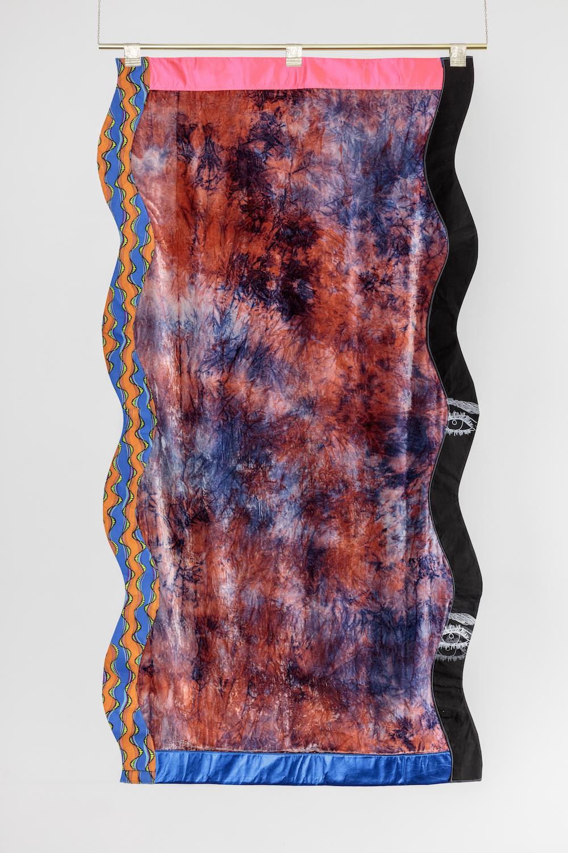 Ludovica Gioscia, Portal 10, 2017. Fabric, thread, screenprinting ink, metal. 228 x 122 cm.