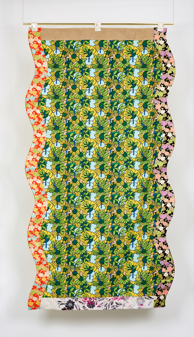 Ludovica Gioscia, Portal 19, 2019. Fabric, thread, metal pole. 234 x 120 cm.