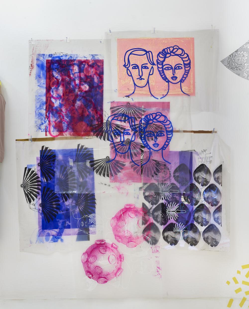 Ludovica Gioscia, Sofia e Goffredo, 2018. Plastic, screen printing ink, drawing pins, parcel tape. 194 x 153 cm.