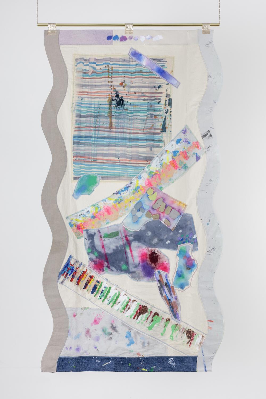 Ludovica Gioscia, Portal 8, 2017. Fabric, thread, screenprinting ink, acrylic paint, felt-tips, ball point pen, metal. 233 x 123 cm.