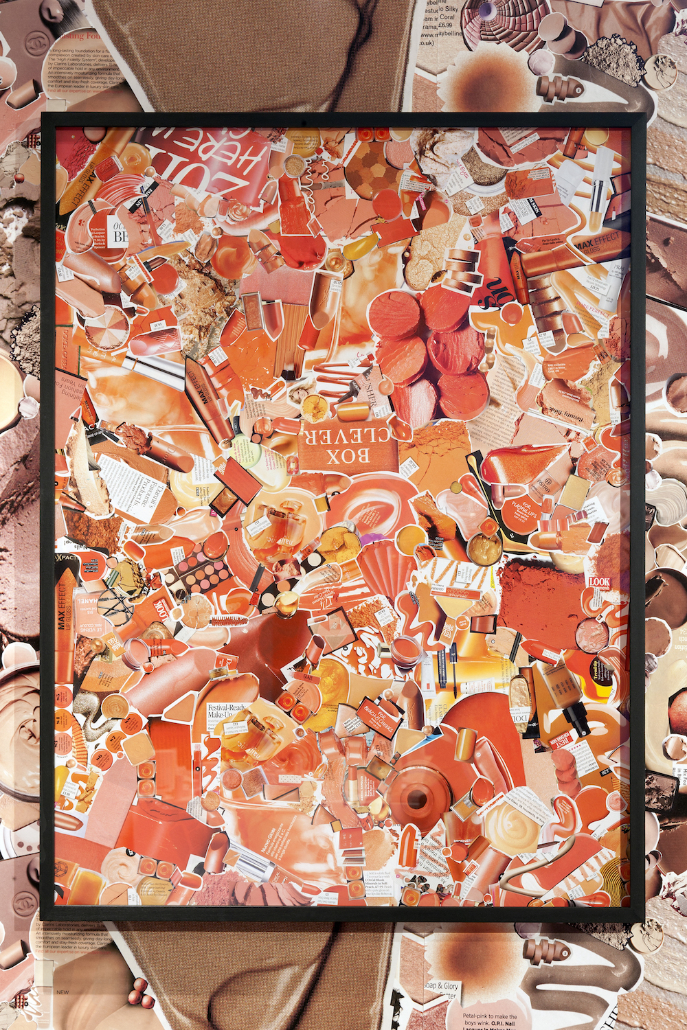 Ludovica Gioscia, Orange, 2011. Make-up ads on museum board, paper, starch paste. Framed. 84 x 63 cm.