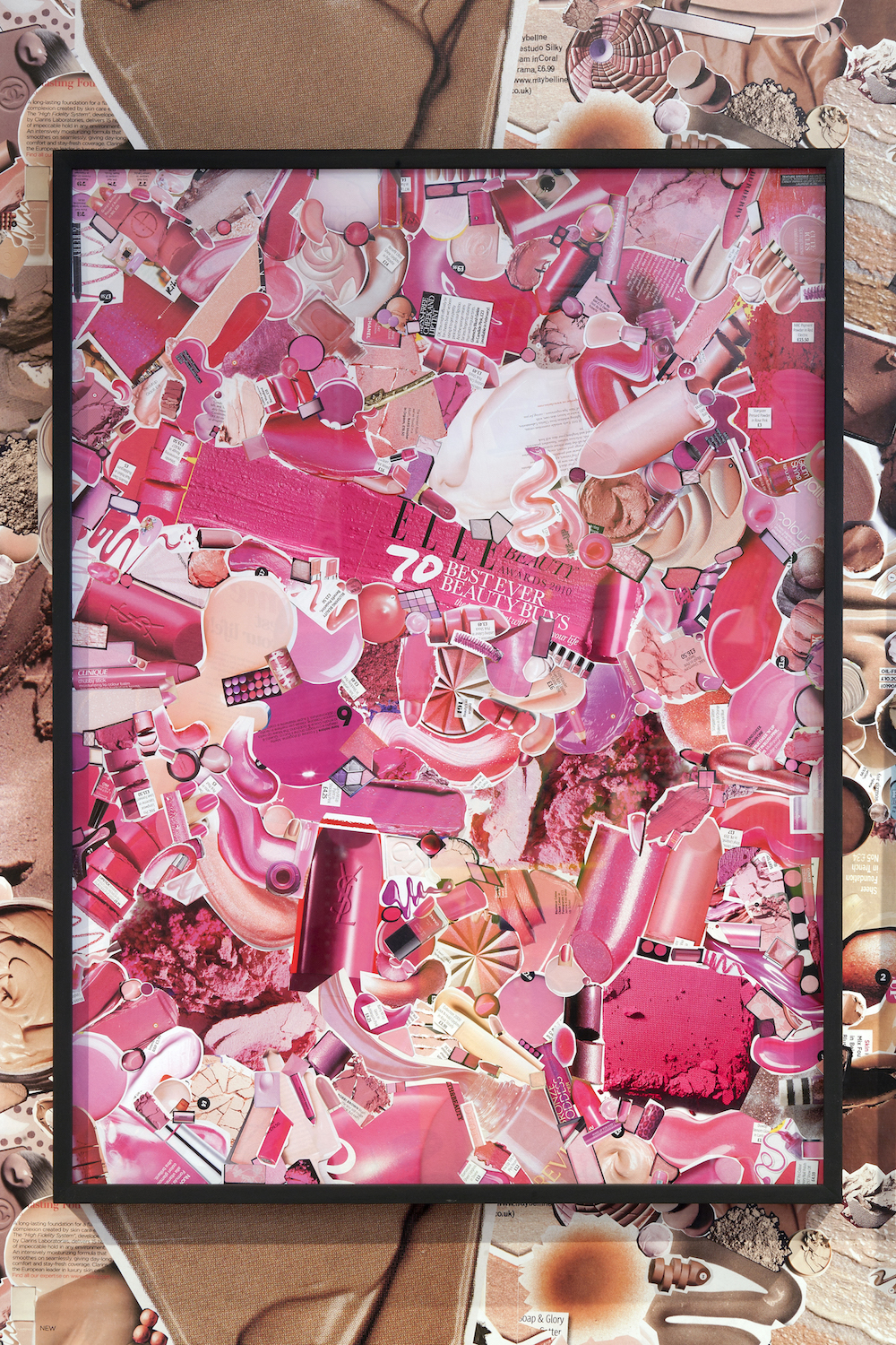 Ludovica Gioscia, Pink, 2011. Make-up ads on museum board, paper, starch paste. Framed. 84 x 63 cm.
