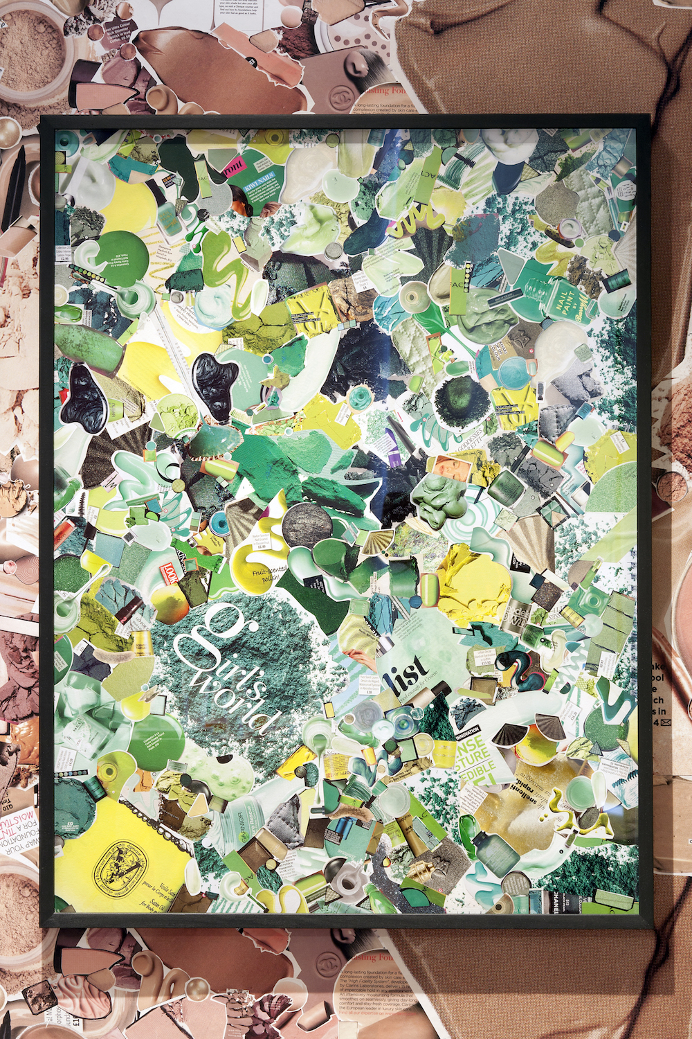 Ludovica Gioscia, Green, 2011. Make-up ads on museum board, paper, starch paste. Framed. 84 x 63 cm.