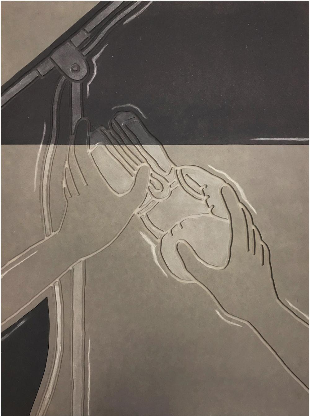 Milly Peck, Spot effect: Impact, 2019. Valchromat. 78 x 59 x 5 cm.
