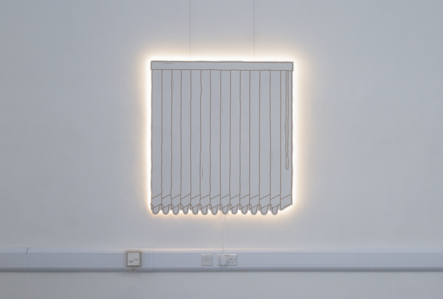 Milly Peck, Office Blinds At Dawn, 2019. Emulsion on board, LED lights. 111 x 120 x 3cm.