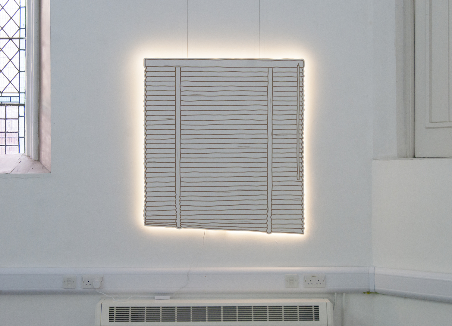 Milly Peck, Slatted Blinds At Dawn, 2019. Emulsion on board, LED lights. 110 x 120 x 3cm.