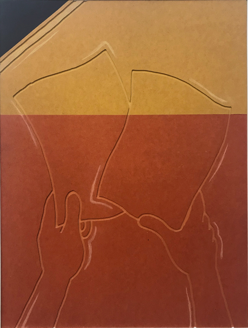 Milly Peck, Spot Effect: Shuffle, 2019. Valchromat. 78 x 59 x 5 cm.