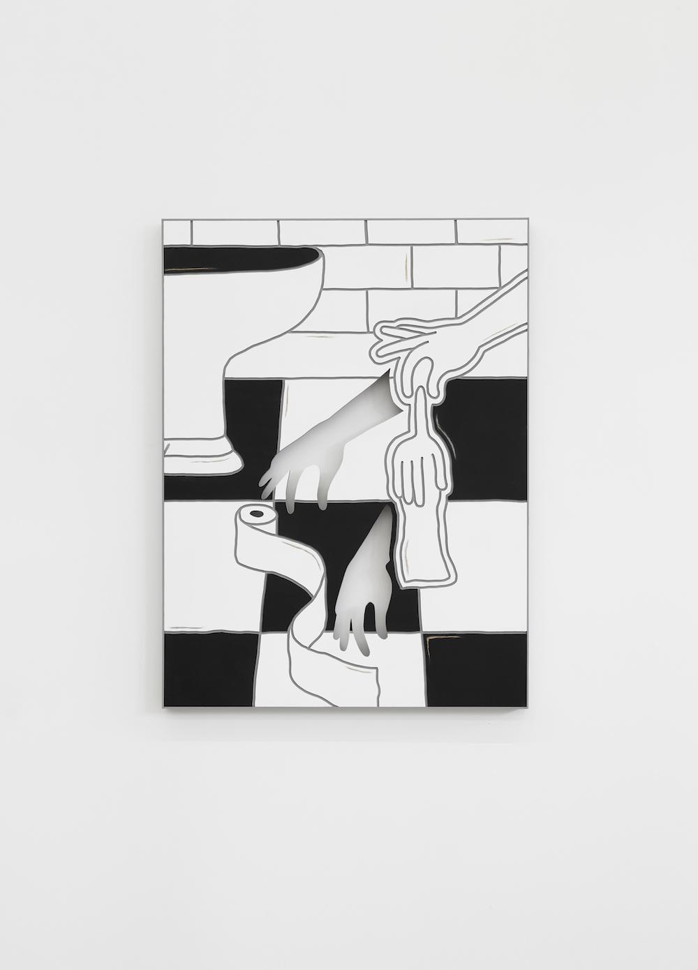 Milly Peck, Pressure Head 3, 2017. Emulsion on board. 112 x 83 x 5 cm.