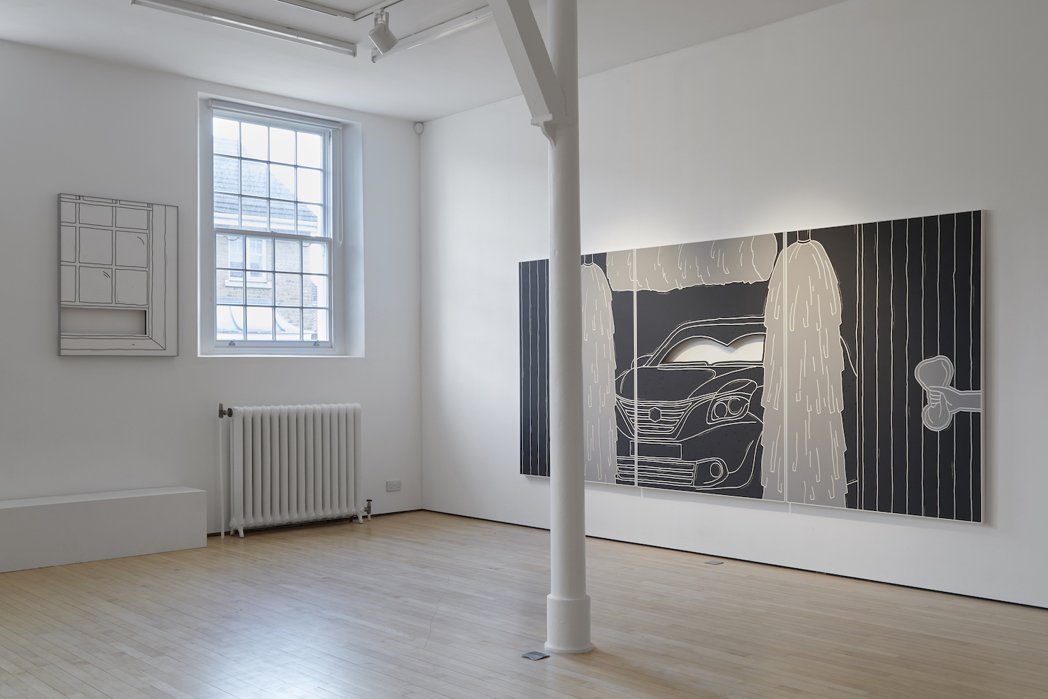 Milly Peck, Pressure Head, 2018. Installation view. Assembly Point, London, UK. Photographer: Ben Westoby.