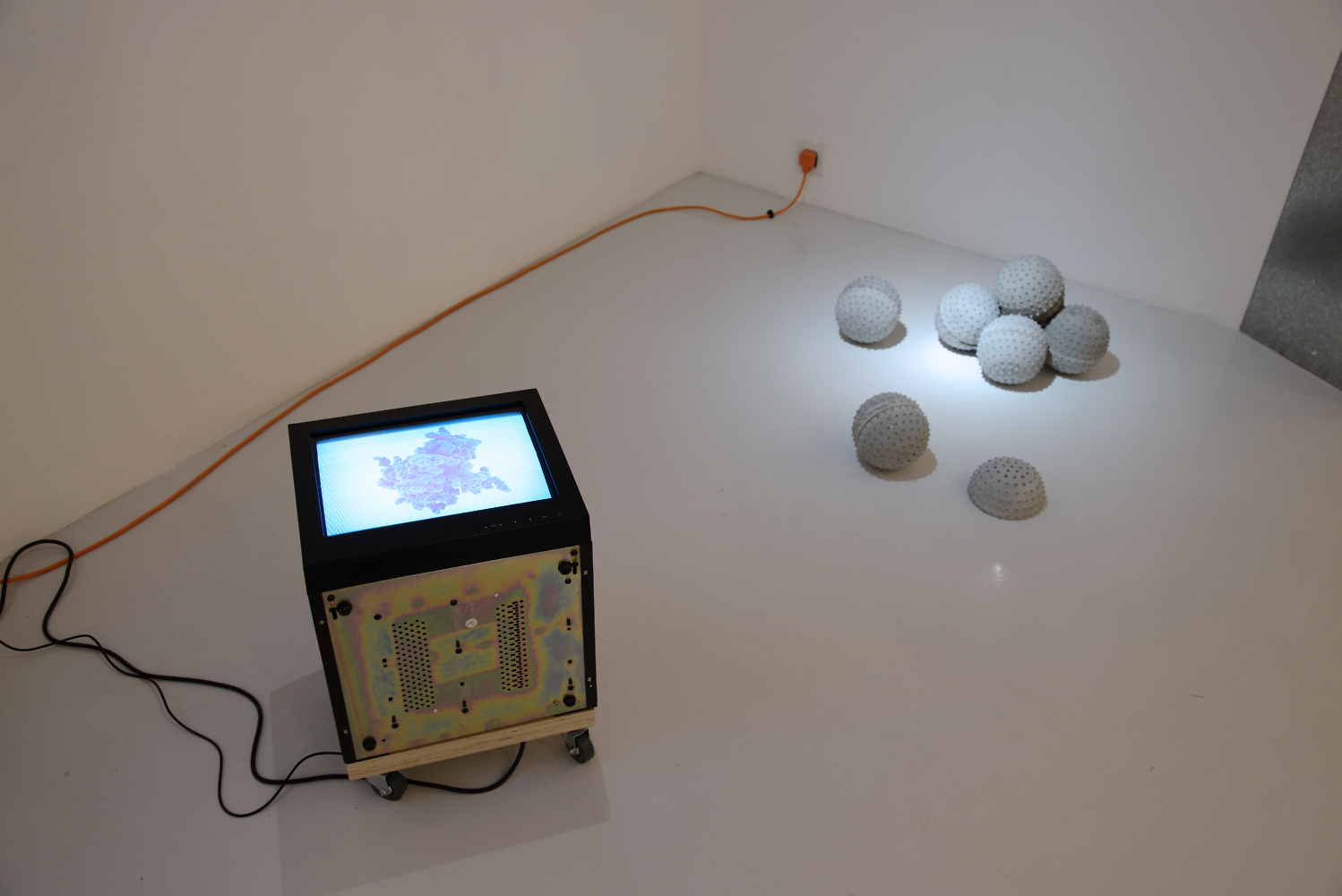 Nadim Abbas, HBV/HIV/HPV/HSV, 2013. Video installation (Looped video, CRT Variable 2013 HPV / HSV televisions, wooden dollies, set of 4). Dimensions variable. Edition of 4 (+1 AP).