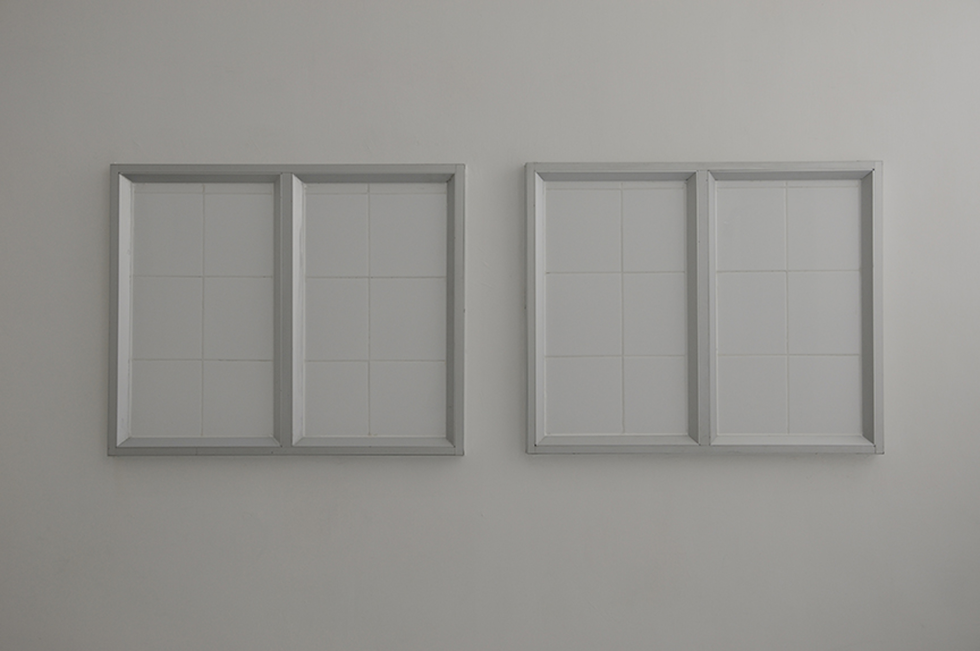 Nadim Abbas, Cataract, 2010. Ceramic tiles, aluminium window frames, recycling shower system, nylon curtains, stainless steel tubing. Dimensions variable. Image Courtesy of EXPERIMENTA, Heilbronn, DE.