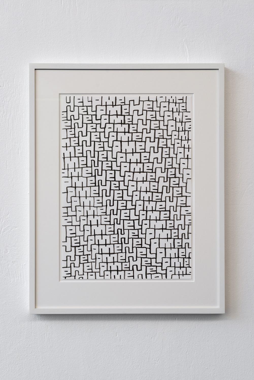 Sam Porritt, Help Me, 2018. Brush and ink on paper. Framed. 57.2 x 44.5 cm.