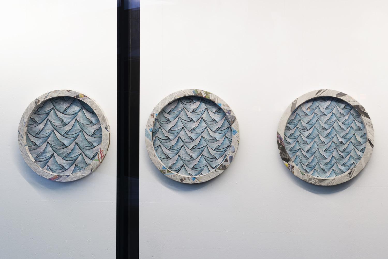 Sam Porritt, A Matter of Perspective (Triptych), 2018. Brush, ink and wax crayon on paper. Card, plaster, papier-mâché. 82 x 7.5 cm each.