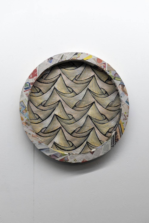 Sam Porritt, Desert, 2018. Brush, ink and wax crayon on paper. Card, plaster, papier-mâché.  82 x 7.5 cm.