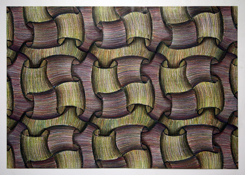 Sam Porritt, In Itself II, 2016. Brush, ink and wax crayon on paper. 100 x 70 cm.