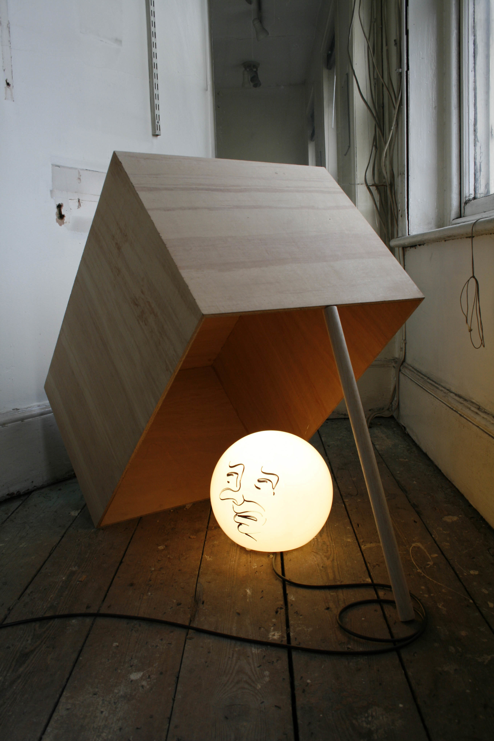 Sam Porritt, Looking For Trouble, 2009. Glass lamp, marker pen, plywood. 75 x 100 x 50 cm.