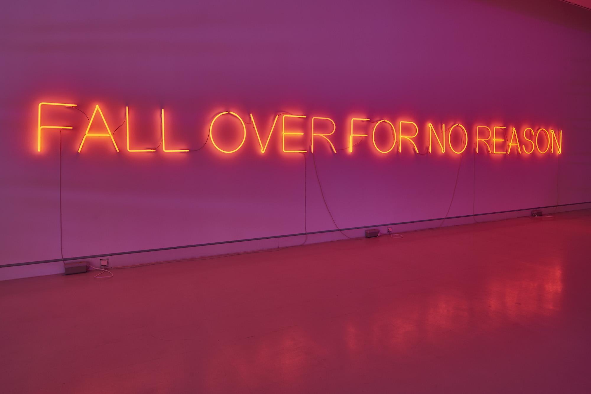 Tim Etchells, NO REASON, 2019. Neon, three transformers. 50 x 938 cm.