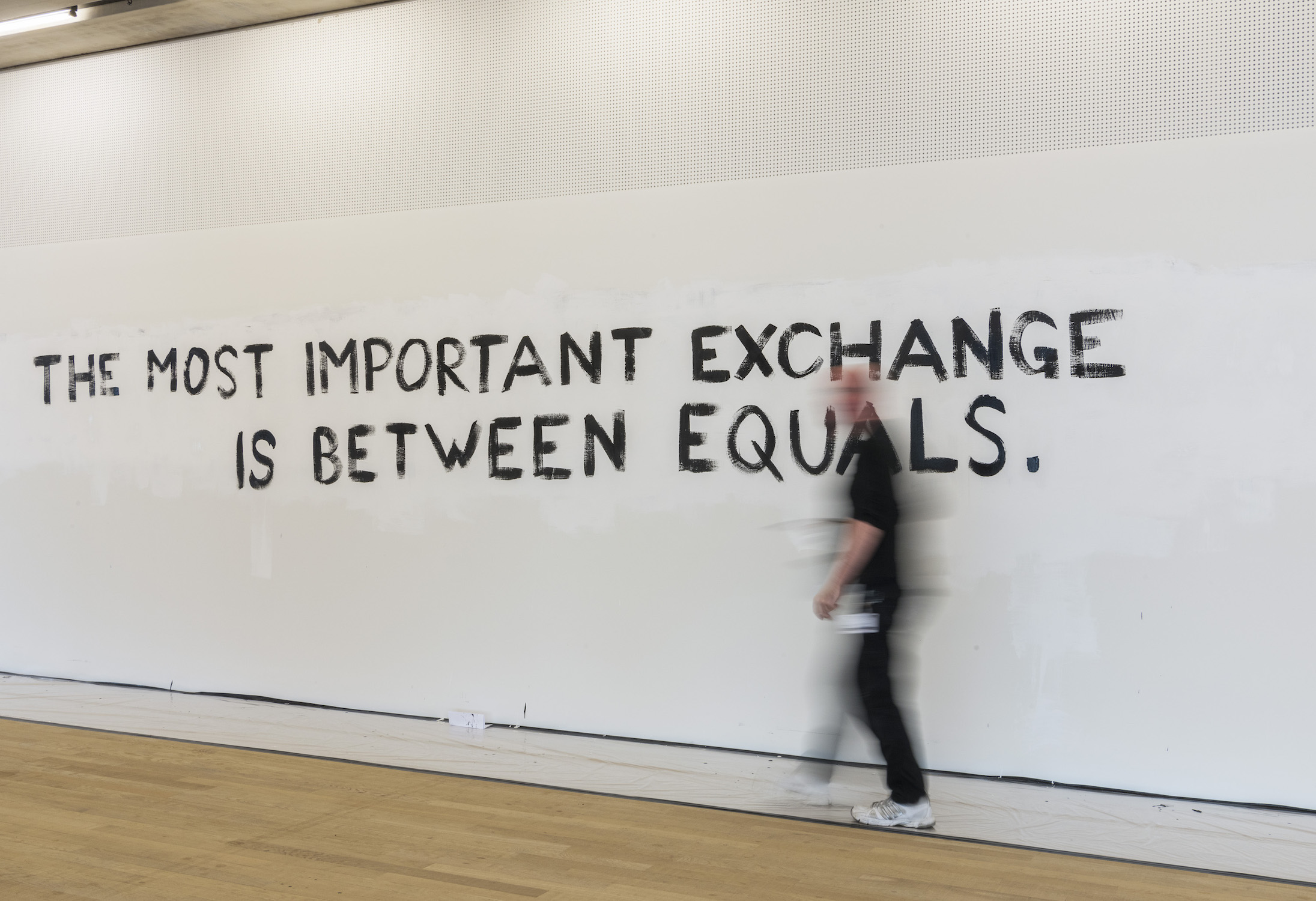 Tim Etchells, Further Provocations, 2016. Wall painting performance. Part of The Give & Take at TATE Exchange.