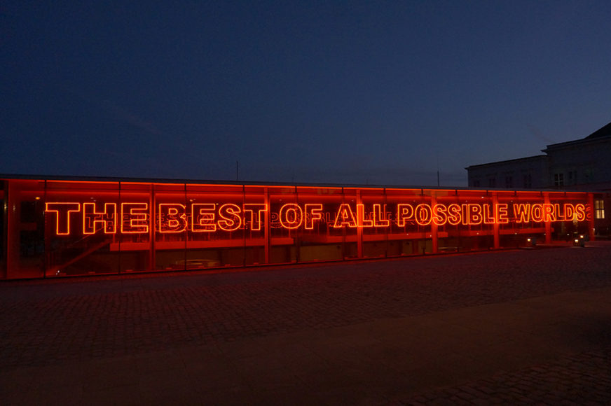 Tim Etchells, Best of All / What Can. 2018. Neon with sound installation. 138 x 3900 cm.