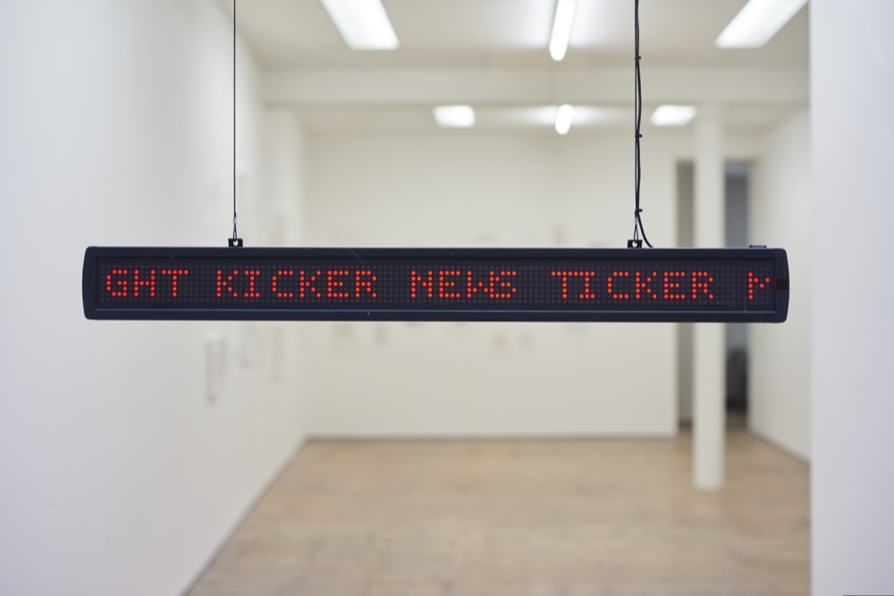 Tim Etchells, News Ticker, 2015. Scrolling LED Sign. 96 x 10 x 5 cm. Edition of 3 (+2 AP).
