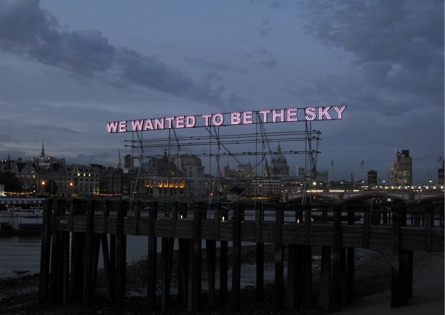 Tim Etchells, We Wanted, 2011. 3D steel letters, LEDs. 1,500 x 90 x 25 cm. Edition of 3 (+1 AP).