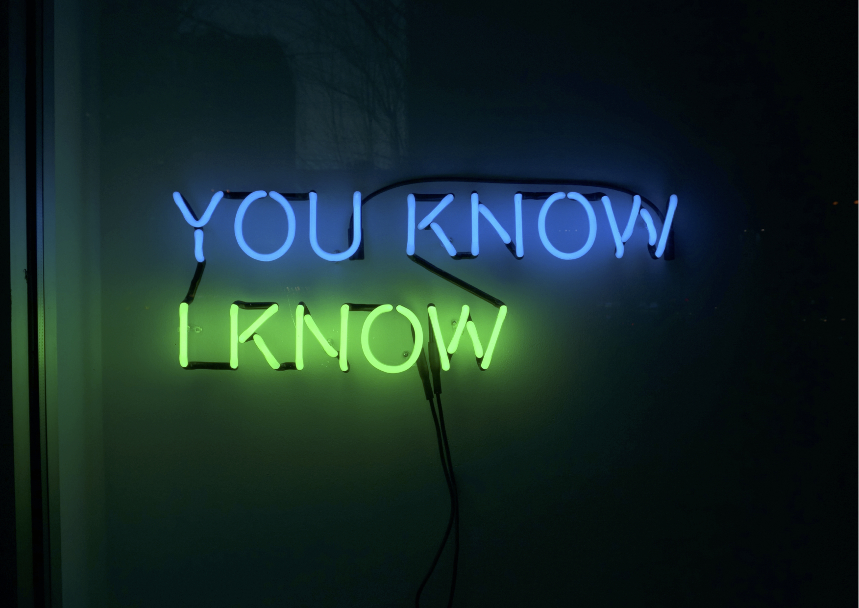 Tim Etchells, Who Knows (detail), 2014. Neon (12 Pairs, 24 Phrases). Dimensions variable. Edition of 2 (+1 AP).