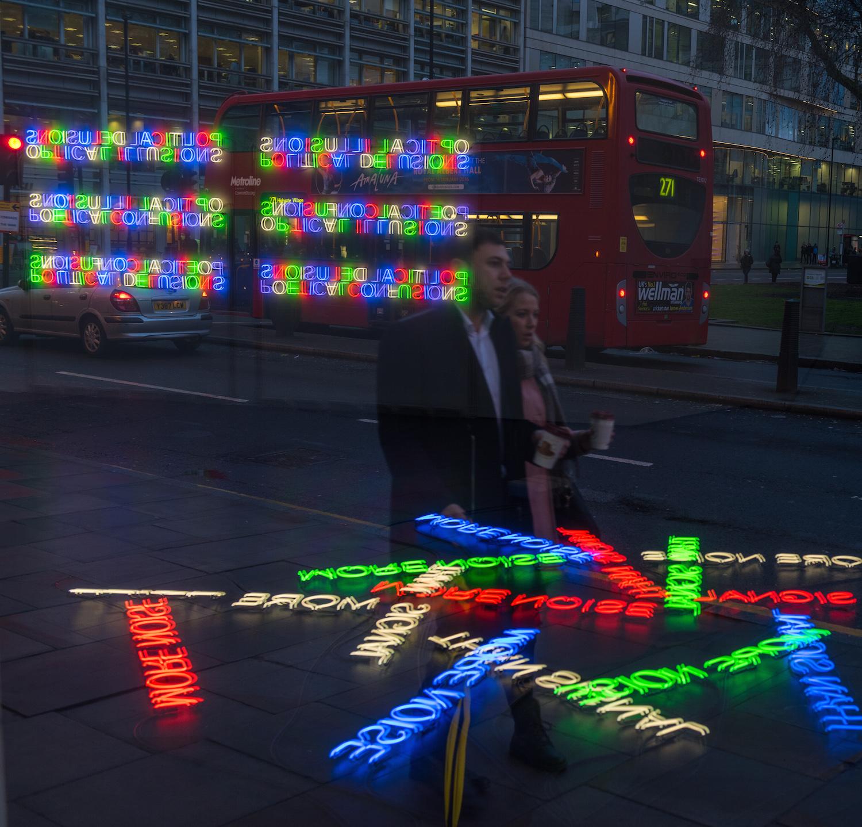 Tim Etchells, More Noise, 2016. Installation View. Bloomberg SPACE, London, UK. Photographer: Hugo Glendinning.