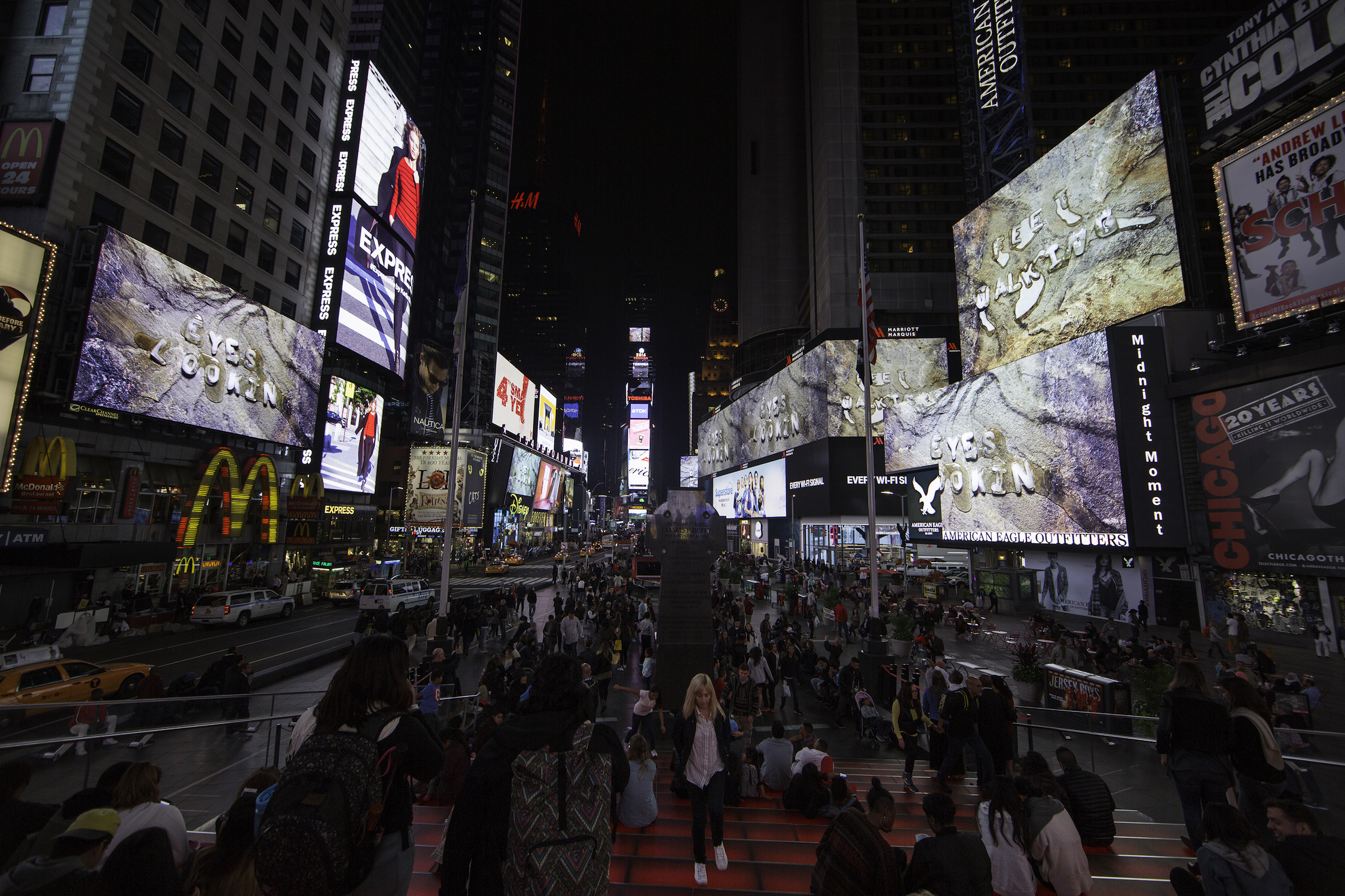 Tim Etchells, Eyes Looking, 2016. Installation view. Times Square Arts Alliance 'Midnight Moments' series on the Times Square electronic display screens. Times Square, New York, US.