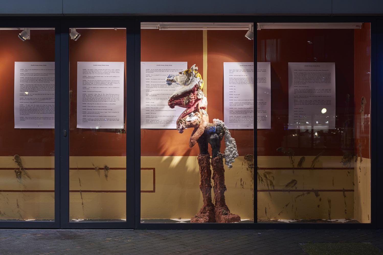 Jamie Fitzpatrick, (loudly) chomp, chomp, chomp, 2016. Installation View. VITRINE, London. Photographer Jonathan Bassett.
