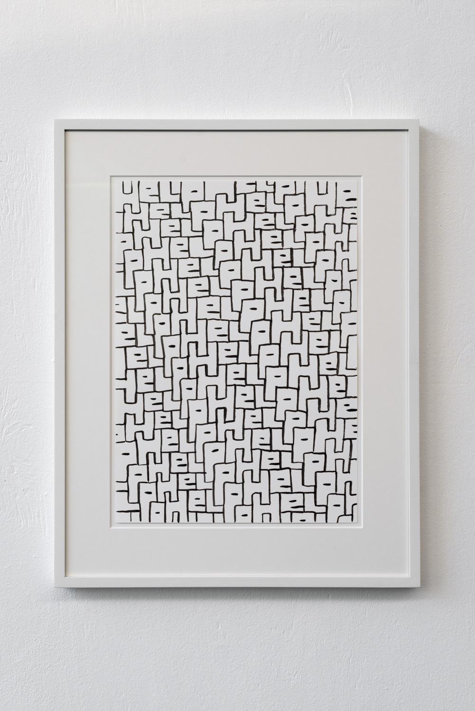 Sam Porritt, Help, 2018. Brush and ink on paper (A3). Frame. 57.2 x 44.5 cm. Photographer Nici Jost.