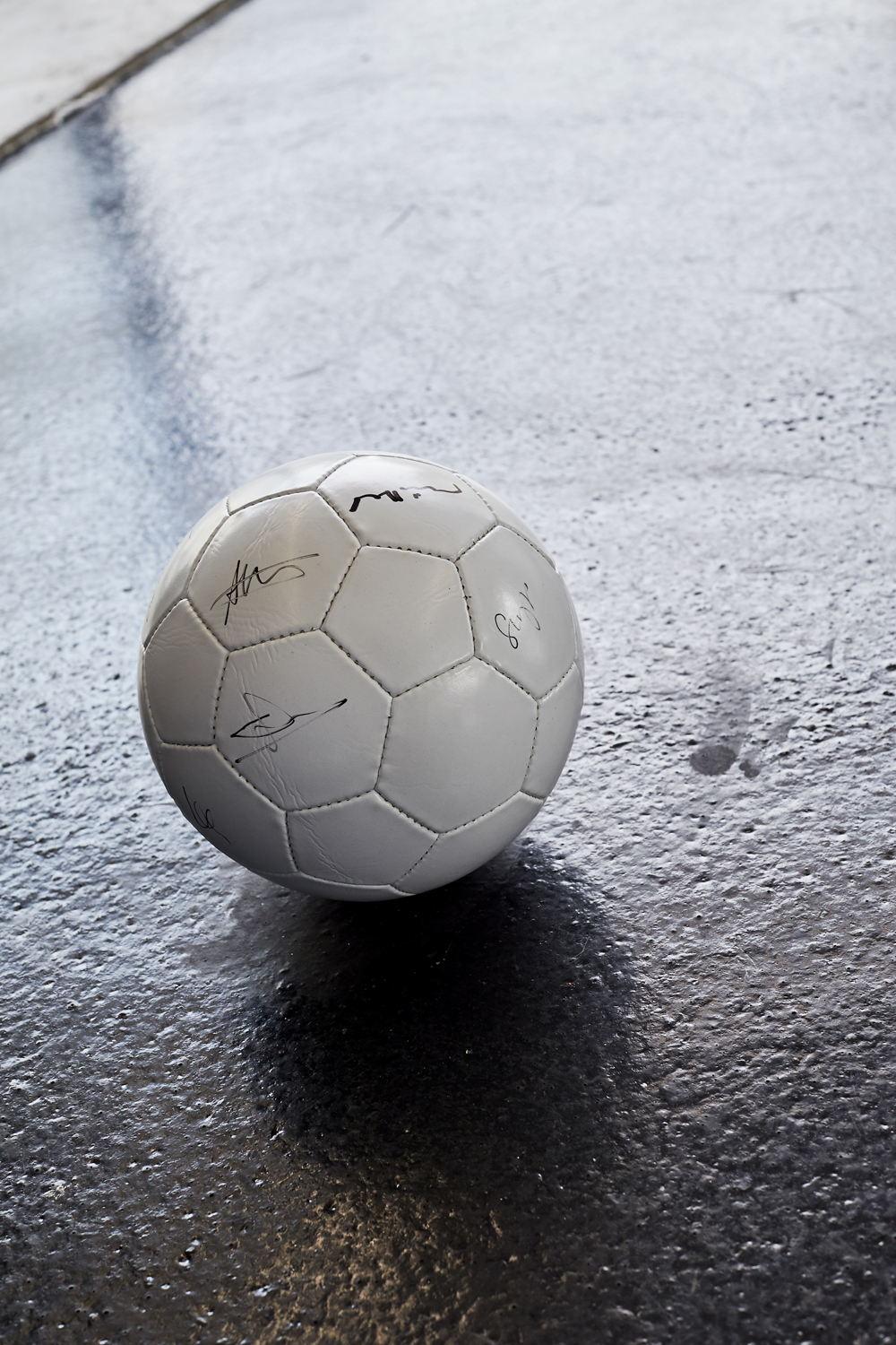 Joe Fletcher Orr, The Game V, 2016. Football signed by all artists in show and curators. Photographer Mark Niedermann.