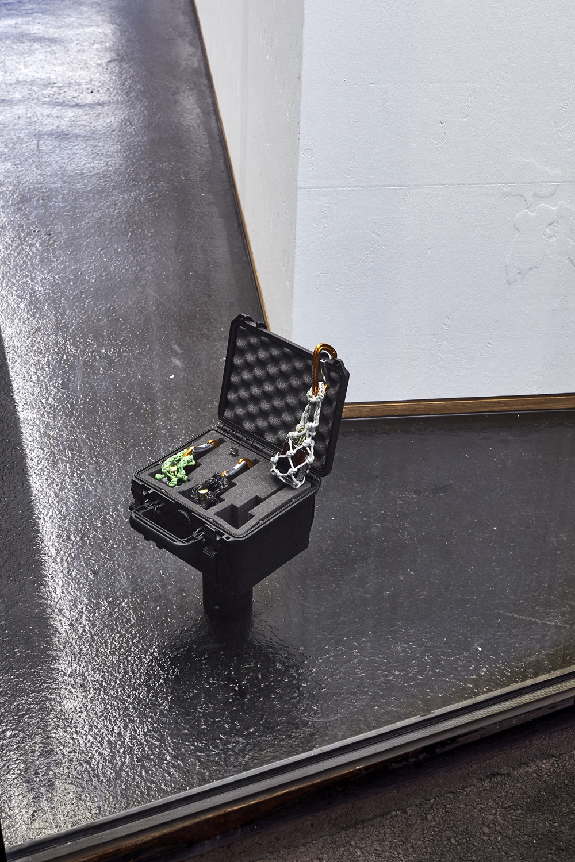 Nino Baumgartner, Energy Rescue Maneuver, 2016. Plastic case, aura soma, paracord, snap hooks and USB stick (sound piece; composition: Paul Norman), Edition of 5 + 1 AP. Photographer Mark Niedermann.