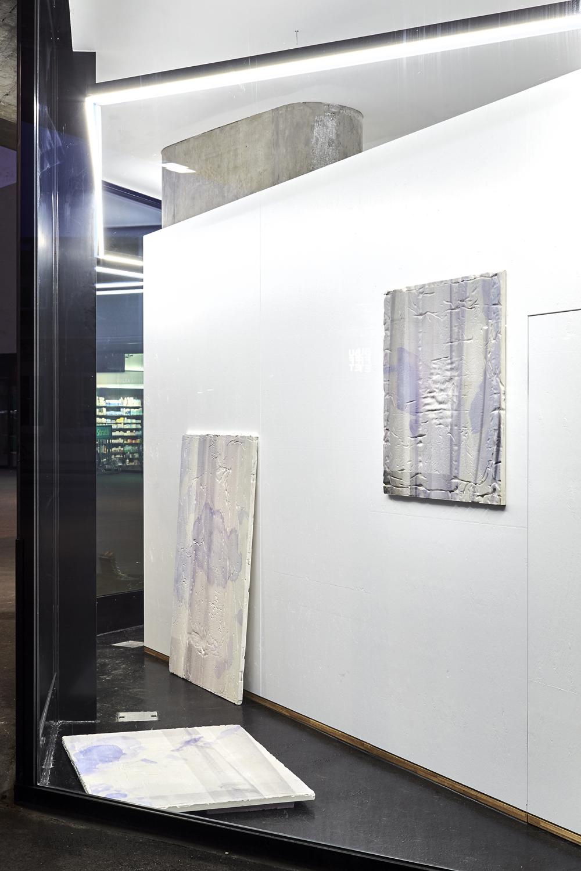 Clare Kenny, It's curtains for you Elizabeth my dear I - III, 2016. Digital print on plaster, Dimensions variable. Photographer Mark Niedermann.