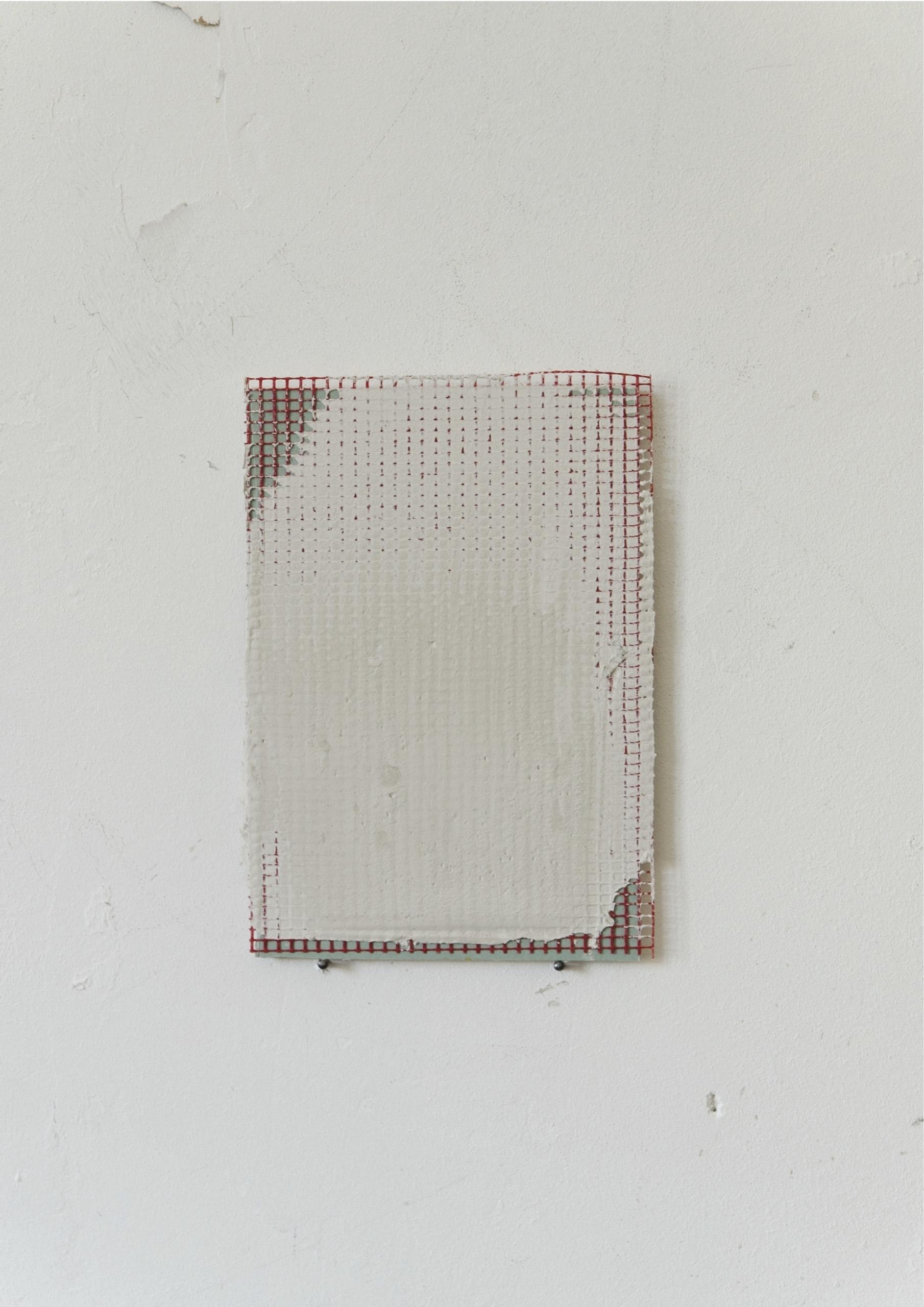 Kriz Olbricht, painting, 2015. Plasterboard, reinforcement fabric, adhesive plaster. 14.5 x 21 cm.