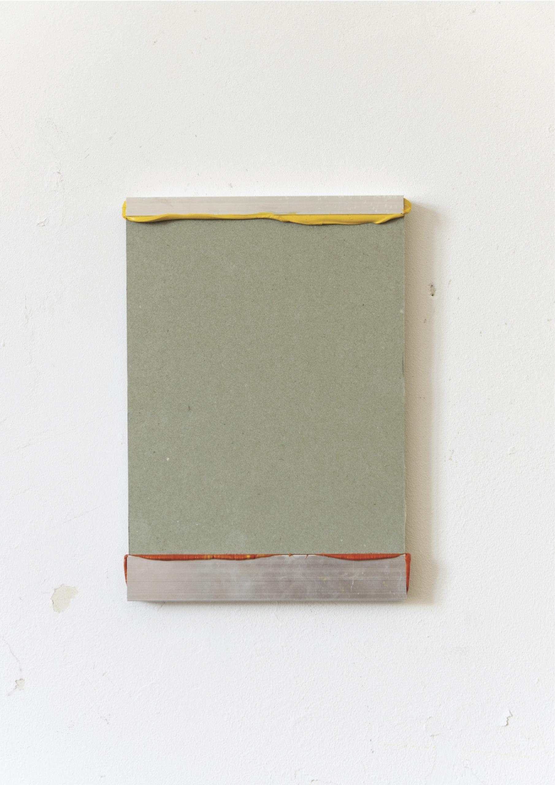 Kriz Olbricht, painting, 2016. Plasterboard, aluminum profiles, oil, silicone. 14,5 x 21 cm.