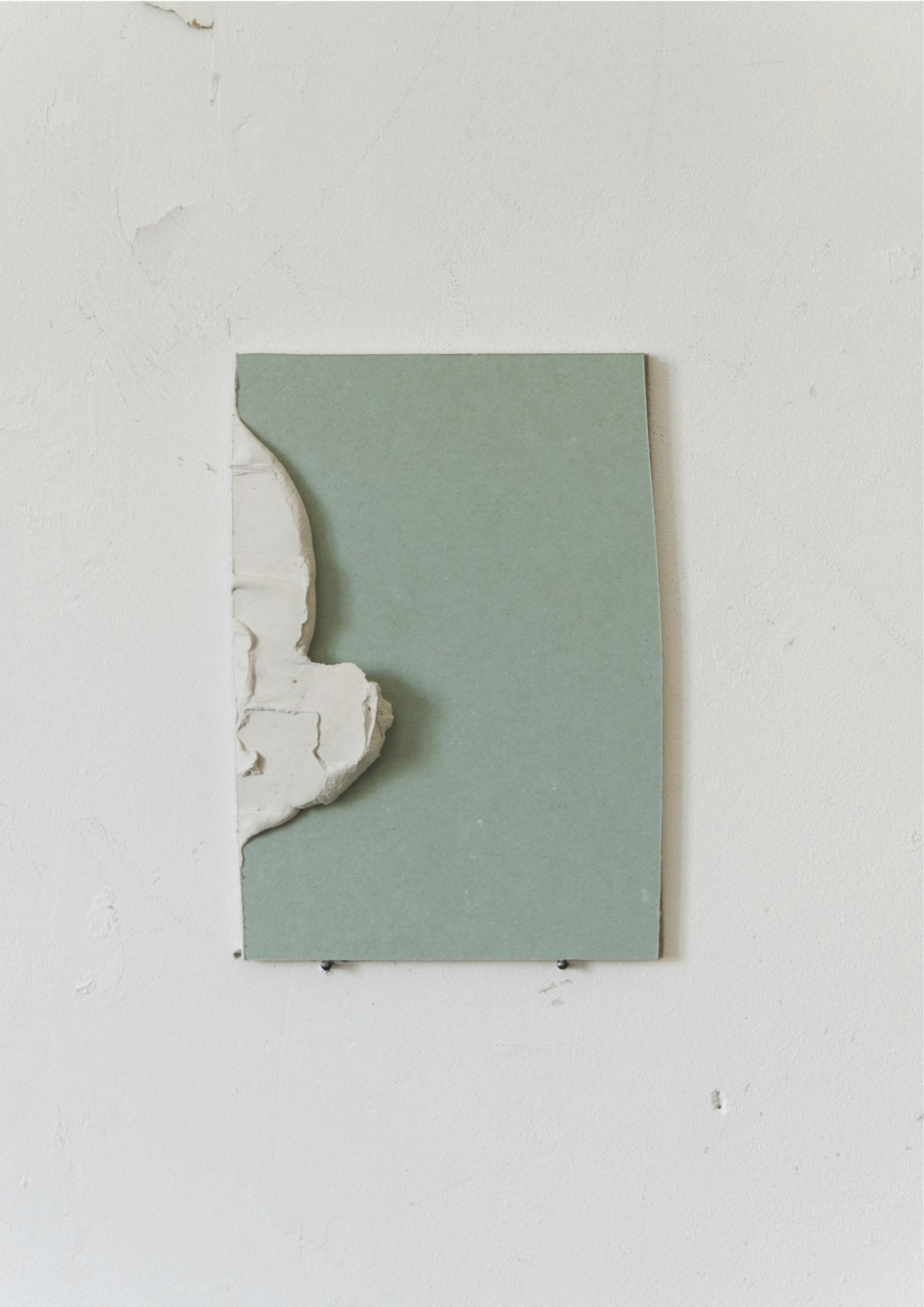 Kriz Olbricht, vesper II, 2015.  Plasterboard, adhesive plaster. 14.5 x 21 cm.