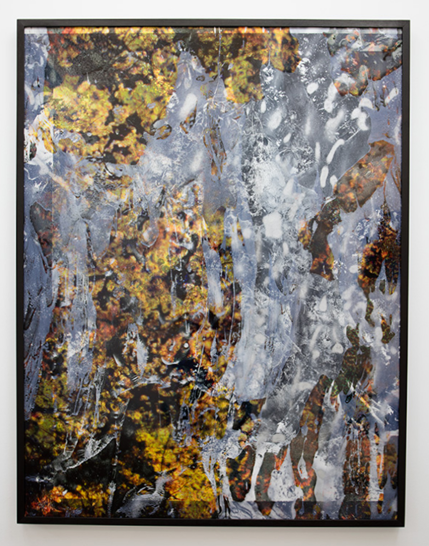 Maya Rochat, A Rock is a River (META TIME), 2017. Dodeka inkjet print on mat paper with hand made spray paint, inkjet print on transparent plastic, with handmade cuts. Framed. 134 x 102 cm.