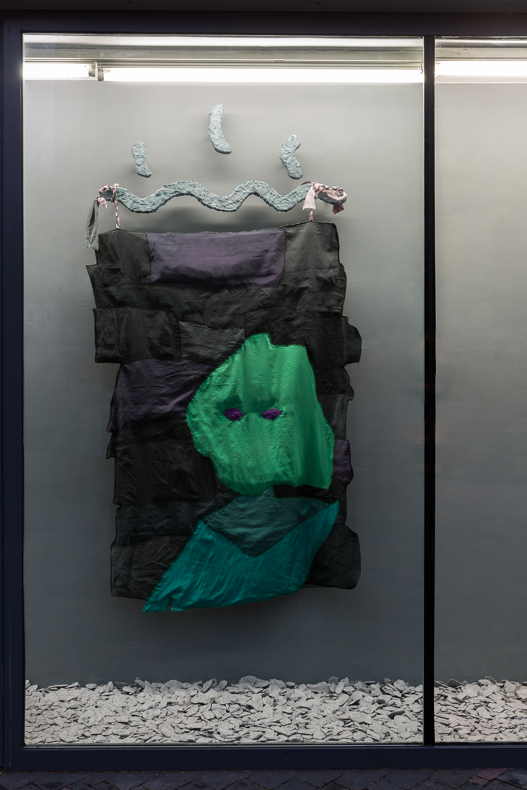 Alfie Strong, Choronzon, my Shadow, 2018. Silk, cotton, cotton thread, papier-mâché, water from Gormire Lake. 105 x 195 x 10 cm. Photographer: Ollie Harrop.